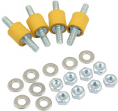 Decoupling set for pump installations, extra-soft yellow rubber buffers