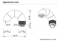 Barrow Adapter 180° (Snake), vierfach drehbar, Innen-/Außengewinde G1/4, schwarz