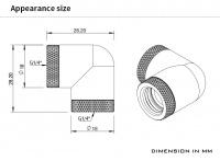 Barrow Adapter 90°, zweifach drehbar, Innengewinde G1/4, silber