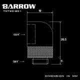 Barrow Adapter 90°, drehbar, Innen-/Außengewinde G1/4, schwarz
