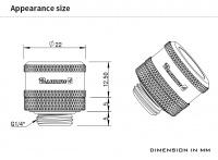 Barrow 14 mm Hardtube-Verschraubung G1/4, verlängerte Ausführung, silber