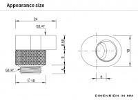 Barrow 360° drehbarer Adapter mit Versatz-Funktion, G1/4, schwarz