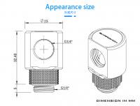 Barrowch Adapter 90°, drehbar, Innen-/Außengewinde G1/4, silber