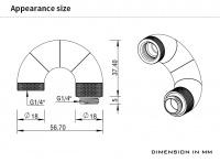 Barrow Adapter 180° (Snake), fünffach drehbar, Innen-/Außengewinde G1/4, silber