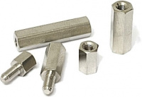 Spacer for M3, length 6 mm, nickel plated brass